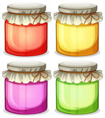 Four colorful jars that are  tightly covered — Stock Vector