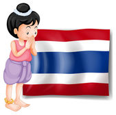 A young girl from Thailand standing in front of the flag — Stock Vector