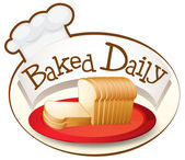 A plate of bread with a baked daily label — Stock Vector