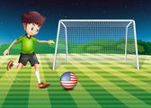 A player kicking the ball with the flag of USA — Stock Vector