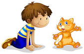 A young boy and his adorable kitten — Stock Vector