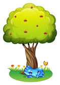 A tired monster under the tree — Stock Vector