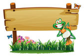 An empty wooden signboard with a playful frog — Stock Vector