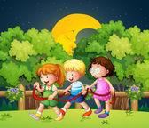 3 人の子供の夜の真ん中に歩いて屋外 — ストックベクタ