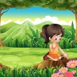 A cute little girl watching the flowers at the forest — Stock Vector