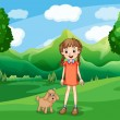 A young girl and her puppy at the hill — Stock Vector #42510587