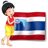 A smiling Thai woman in front of the Thailand flag — Stock Vector