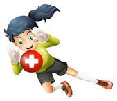 A soccer player with the flag of Switzerland — Stock Vector