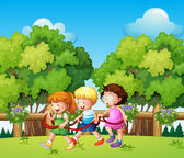 Kids playing outdoor during daytime — Stock Vector