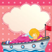 A young girl sleeping at the ship with an empty callout — Stock Vector