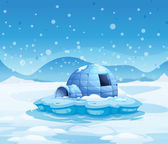 An iceberg with an igloo — Stock Vector