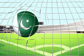 A ball hitting a goal with the Pakistan flag — Stock Vector