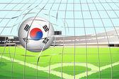 A soccer ball with the South Korean flag — Stock Vector