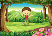 A little boy at the woods — Stock Vector