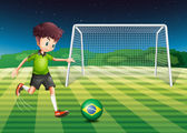 A player kicking the ball with the flag of Brazil — Stock Vector