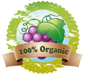 An organic label with fresh grapes — Stock Vector