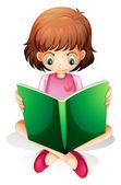 A young girl reading a green book — Stock Vector