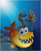 A scary fish under the sea near the rocks — Stock Vector