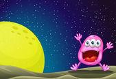 A monster near the moon — 图库矢量图片