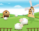 A farm at the hills with sheeps — Stock Vector