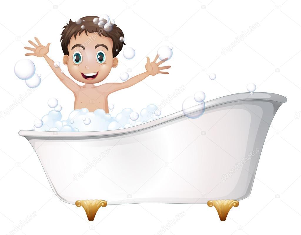 Imagenes De Baño Animadas:un niño en la bañera — Vector stock © interactimages #42511425