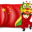 A boy doing the dragon dance in front of the flag of China — Stock Vector