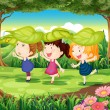 Three playful kids at the forest — Stock Vector