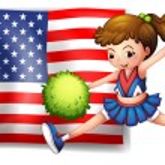 A cheerleader and the USA flag — Stock Vector