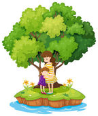 An island with a mother and a daughter — Stock Vector