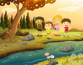 Kids at the riverbank — Stock Vector
