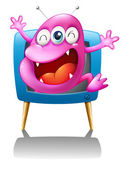 A blue TV with a pink monster — Stock Vector