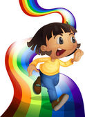 A rainbow with a child playing — Stock Vector