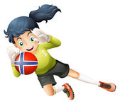 A female athlete using the ball with the flag of Norway — Stock Vector
