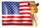 A cowgirl and the United States of America flag — Stock Vector