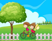 A boy biking with his girlfriend — Stock Vector