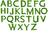 Green colored letters of the alphabet — Stock Vector