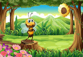 A stump at the jungle with a bee — Stock Vector