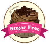 A fresh cupcake with a sugar free label — Stock Vector