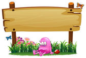 A poisoned pink monster under the empty wooden signboard — Stock Vector