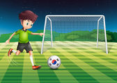 A boy kicking the ball with the South Korean flag — Stock Vector