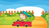 A young boy in his car — Stock Vector