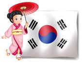 A South Korean girl beside their flag — Stock Vector