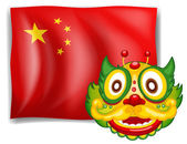 A dragon and the Chinese flag — Stock Vector