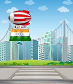 An air balloon in the city with the flag of India — Stock Vector
