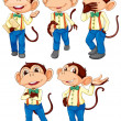 Five monkeys wearing blue jeans — Stock Vector #43027273