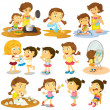 Different actions of a young girl — Stock Vector #43027599
