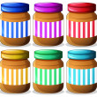 Six jars of peanut butters — Stock Vector