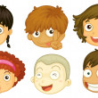 Six heads of different kids — Stock Vector