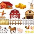 Things and animals found at the farm — Stock Vector #43029015