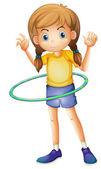 A young girl playing with the hulahoop — Stock Vector